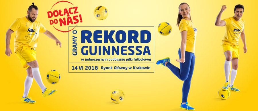 Już 14 czerwca zapraszamy Was na Rynek Główny w Krakowie. W pierwszy dzień piłkarskiego mundialu pobijemy kolejny rekord Guinnessa. Tym razem w jednoczesnym podbijaniu piłki futbolowej. Żeby tego dokonać, potrzebujemy Waszej pomocy!