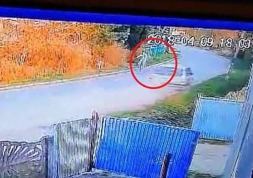 Pijany kierowca prawie rozjechał rowerzystkę i uderzył w słup