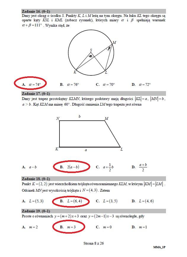 cke matura 2018 matematyka odpowiedzi