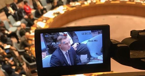 Nie ma pokoju bez prawa. Prawo międzynarodowe pozostaje najsilniejszym narzędziem dla cywilizowanych narodów, aby zapewnić długotrwały pokój - powiedział prezydent Andrzej Duda podczas debaty w Radzie Bezpieczeństwa ONZ w Nowym Jorku. W związku z objęciem przez Polskę przewodnictwa w Radzie Bezpieczeństwa Narodów Zjednoczonych prezydent prowadzi w czwartek w ONZ debatę otwartą wysokiego szczebla poświęconą roli prawa międzynarodowego w utrzymaniu pokoju i bezpieczeństwa na świecie.