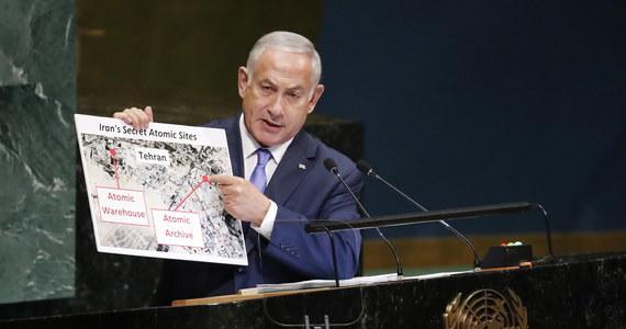 """Na sesji Zgromadzenia Ogólnego ONZ premier Izraela Benjamin Netanjahu oskarżył Iran o ukrywanie materiału związanego z bronią jądrową w """"tajnym magazynie atomowym"""" w Teheranie. Według niego dowodzi to, że Teheran nie zrezygnował z programu broni jądrowej."""