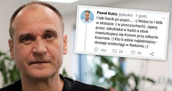 """Paweł Kukiz tłumaczy serię skandalicznych tweetów, jakie opublikował minionej nocy w reakcji na odejście ze swojego ruchu posła Jakuba Kuleszy i na komentarz w tej sprawie Marka Jakubiaka. """"W związku z sytuacją, że utraciłem kontrolę nad swoim kontem na Twitterze, zmuszony jestem konto zlikwidować"""" - informuje Kukiz, nie ujawniając jednak, na czym """"utrata kontroli"""" miała polegać."""