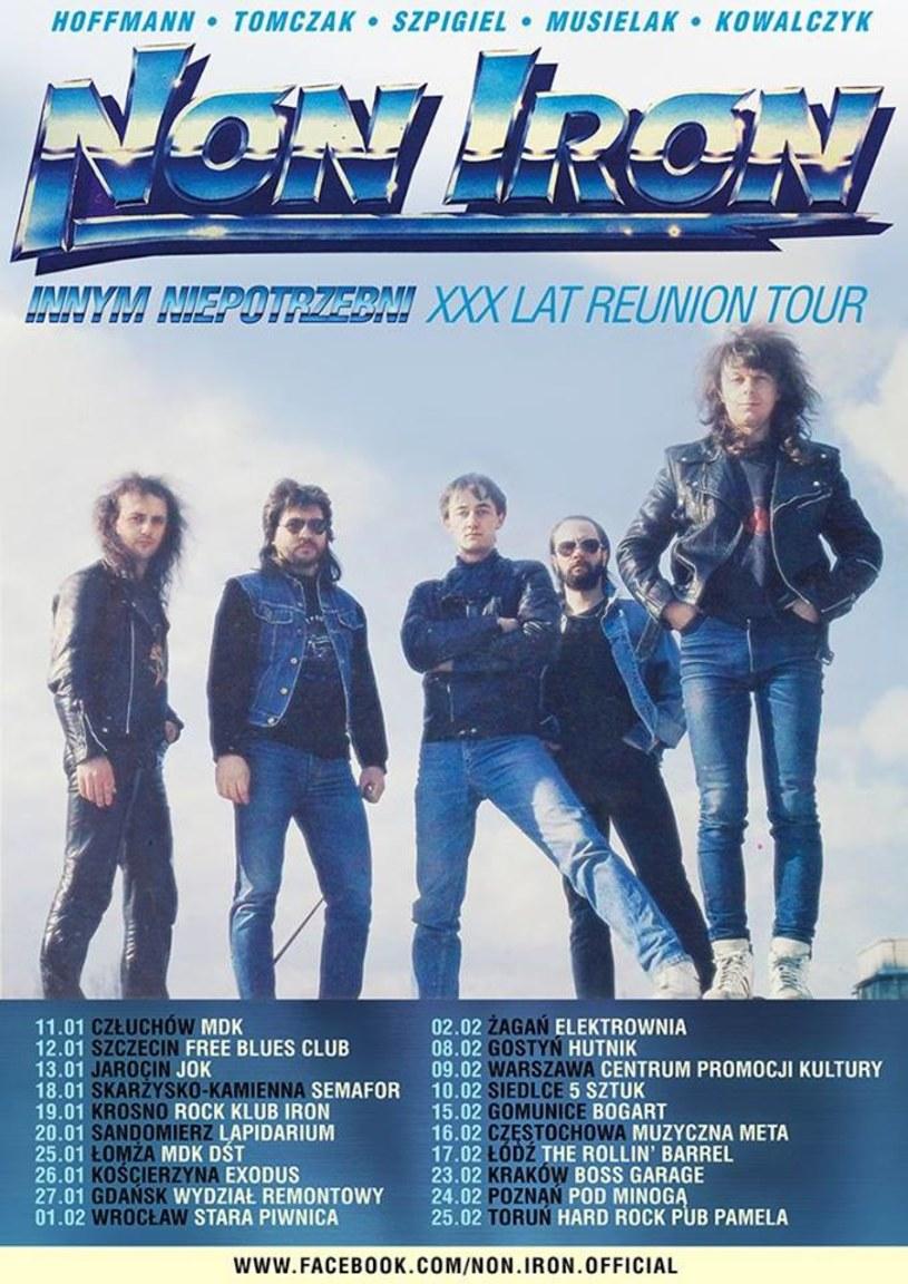 """W styczniu 2019 r. rozpocznie się blisko dwumiesięczna trasa """"Innym niepotrzebni - XXX lat Reunion Tour"""" poznańskiej grupy Non Iron. Po tych występach muzycy zakończą działalność tej formacji."""