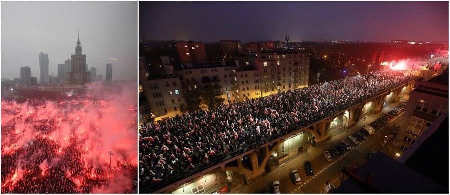 """250 tysięcy ludzi przeszło 11 listopada ulicami Warszawy w Marszu Niepodległości środowisk narodowych i państwowym Biało-Czerwonym Marszu """"Dla Ciebie Polsko"""" pod patronatem prezydenta Andrzeja Dudy. Jak podkreśla policja: """"Było spokojnie"""". Zobaczcie zapis naszej relacji na żywo z tych wydarzeń - z mnóstwem filmów i zdjęć!"""