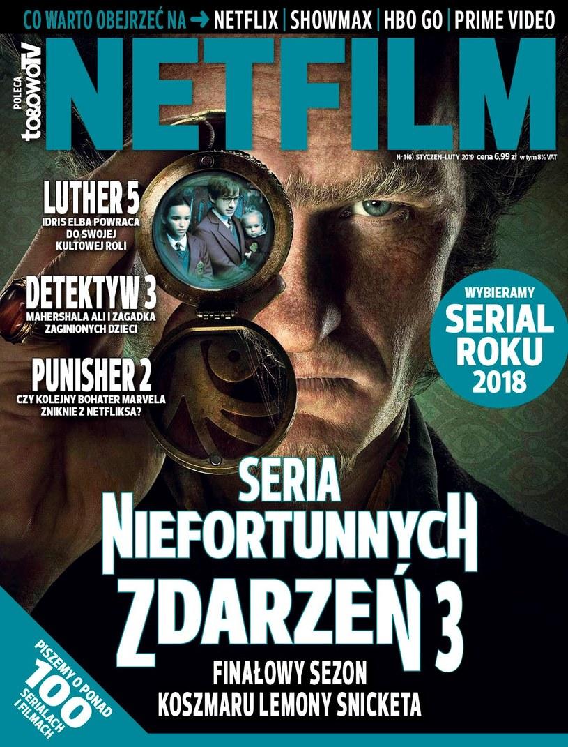 """W szóstym numerze magazynu """"Netfilm"""" (w sprzedaży od 9 stycznia) znajdziecie recenzje i  opisy ponad 100 filmów i  seriali dostępnych w  ofercie Netflix, Showmax, HBO GO i  Amazon Prime Video."""