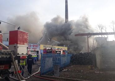 Duży pożar składowiska opon w Lubaniu