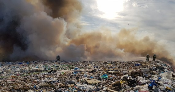 17 zastępów strażackich walczy z pożarem składowiska odpadów recyklingowych w Ruszczynie koło Kamieńska w Łódzkiem. Ogień nie stwarza zagrożenia dla budynków.