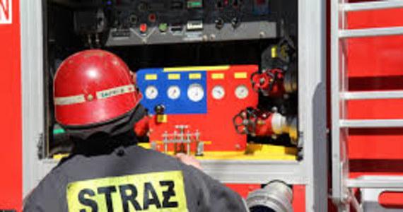 """Utrudnienia dla kierowców na drodze krajowej numer """"14. Strażacy zablokowali drogę w pobliżu miejscowości Głowno w Łódzkiem. Gaszą budynek młyna, który w nocy stanął w płomieniach."""