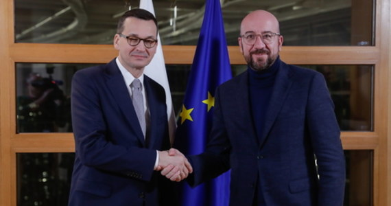 """""""Poświeciliśmy szczególnie dużo czasu środkom własnym budżetu UE""""- mówił premier Mateusz Morawiecki w Brukseli po spotkaniu z przewodniczącym Rady Europejskiej Charlesem Michelem."""