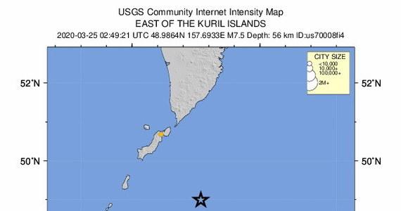 Bardzo silne trzęsienie ziemi u wybrzeży rosyjskich Wysp Kurylskich. Wstrząsy miały magnitudę 7,5.