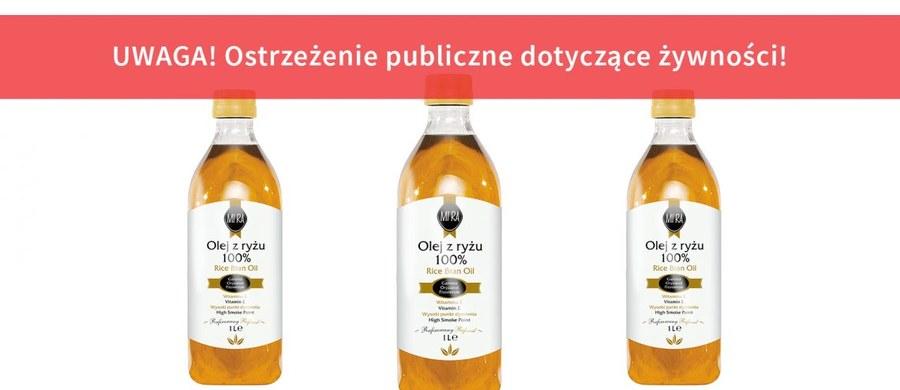 Główny Inspektor Sanitarny wycofuje z rynku olej z ryżu MI'RA o numerze partii L0041 wyprodukowany dla Italmex. Stwierdzono w nim przekroczenie najwyższego dopuszczalnego poziomu estrów glicydowych oraz estry 3-monochloropropanodiolu – wynika z komunikatu sanepidu.