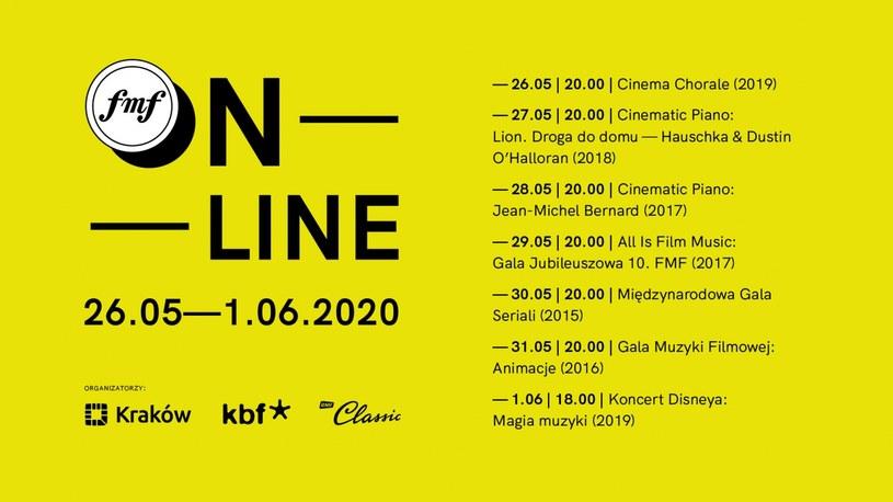 Premierowe recitale, archiwalne koncerty i nagrane kilka dni temu wywiady z kompozytorami znajdą się w programie 13. Festiwalu Muzyki Filmowej (FMF) w Krakowie, który rozpoczyna się we wtorek. Przegląd w całości odbędzie się w sieci.