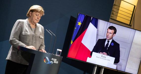 Kanclerz Niemiec Angela Merkel i prezydent Francji Emmanuel Macron w wystąpieniach po spotkaniu online europejskich liderów, dotyczącym bezpieczeństwa, mówi o konieczności reformy strefy Schengen.