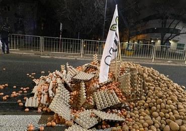 Jaja, ziemniaki, martwa świnia w pobliżu domu Jarosława Kaczyńskiego. Protest Agrounii