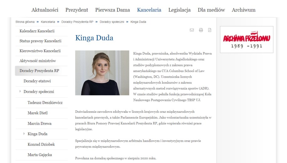 /Zrzut ze strony prezydent.pl z września 2020 /