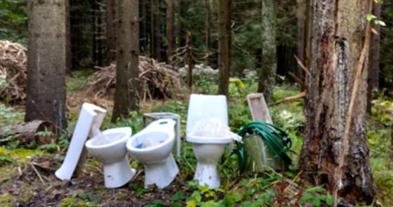 """Pracownicy Parku Narodowego Gór Stołowych znaleźli w lesie trzy ceramiczne muszle klozetowe. Szukają osoby, które """"zaśmieciła"""" park."""