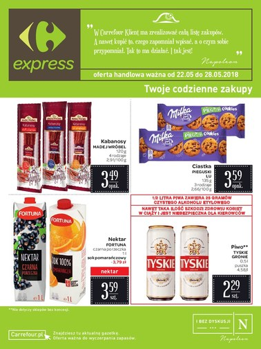 Gazetka promocyjna Carrefour Express, ważna od 22.05.2018 do 28.05.2018.