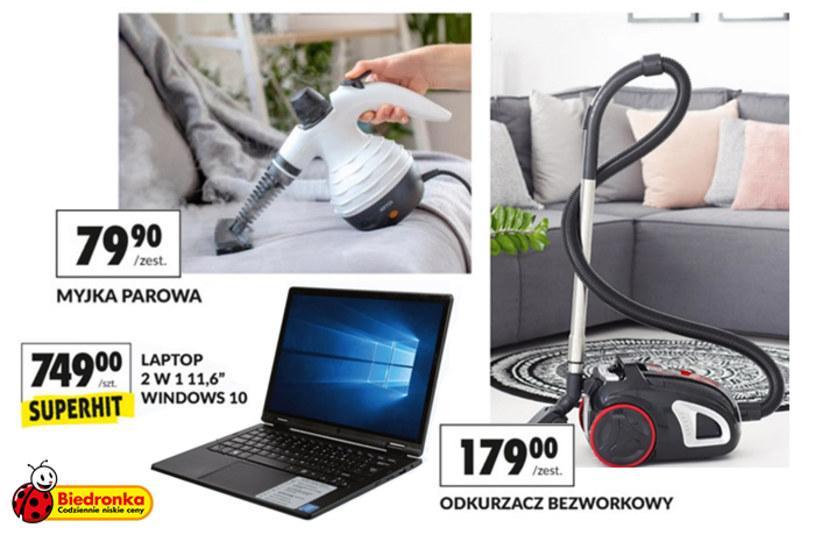 Laptop 2w1, myjka parowa i odkurzacz bezworkowy - Okazje tygodnia w Biedronce