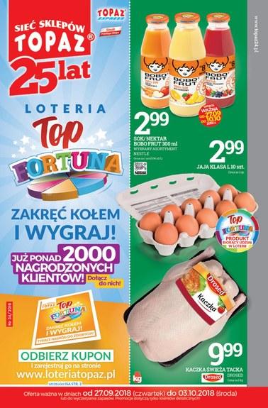 Gazetka promocyjna Topaz, ważna od 27.09.2018 do 03.10.2018.