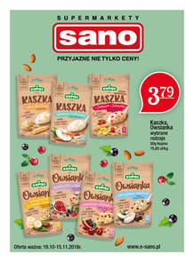 Gazetka promocyjna Sano, ważna od 19.10.2018 do 15.11.2018.