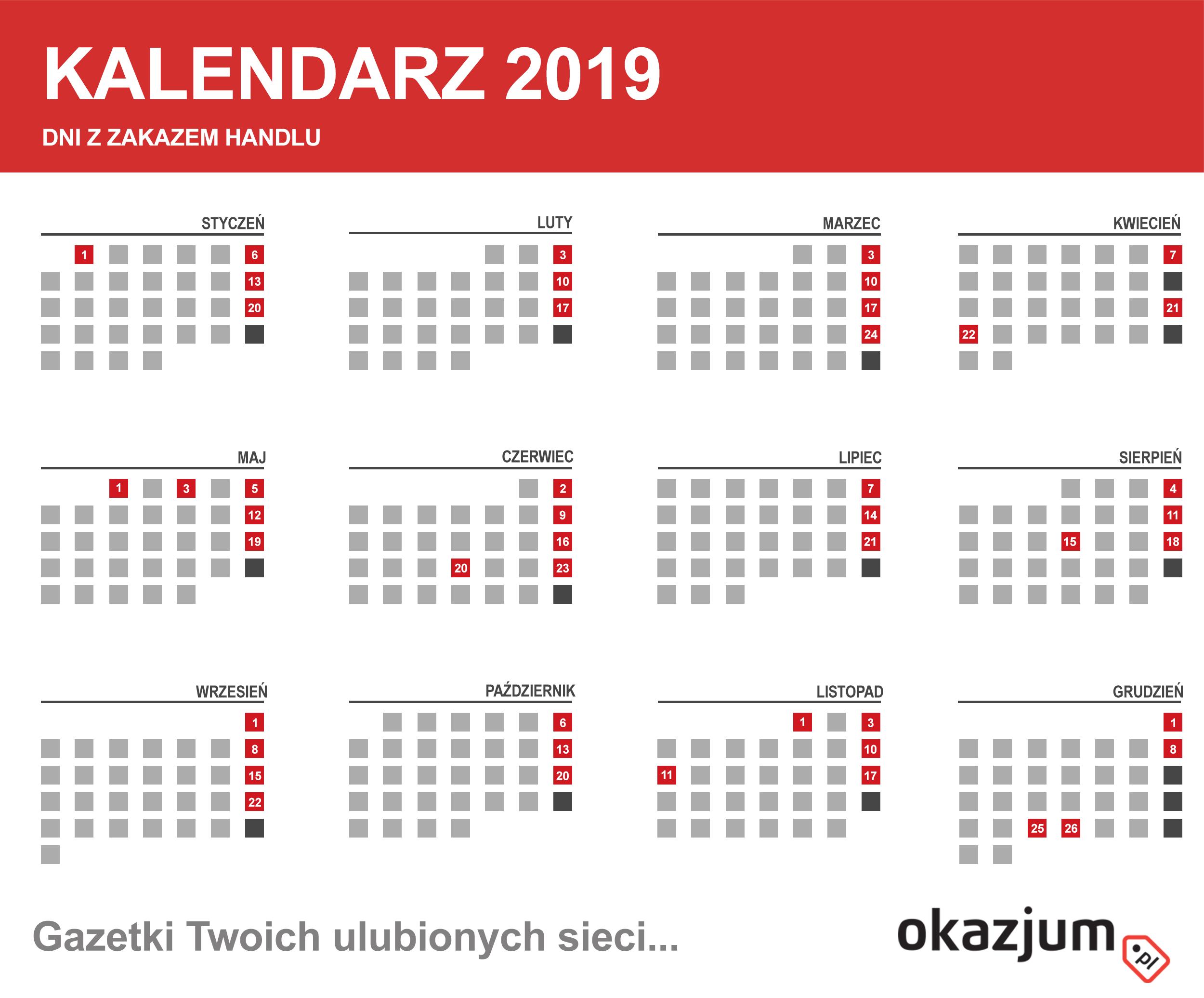 Kalendarz 2019 - Dni z zakazem handlu - Do pobrania