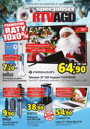 Gazetka promocyjna Specjaliści RTV AGD, ważna od 26.11.2018 do 31.12.2018.