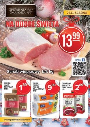Gazetka promocyjna Spiżarnia Smakosza, ważna od 29.11.2018 do 05.01.2019.