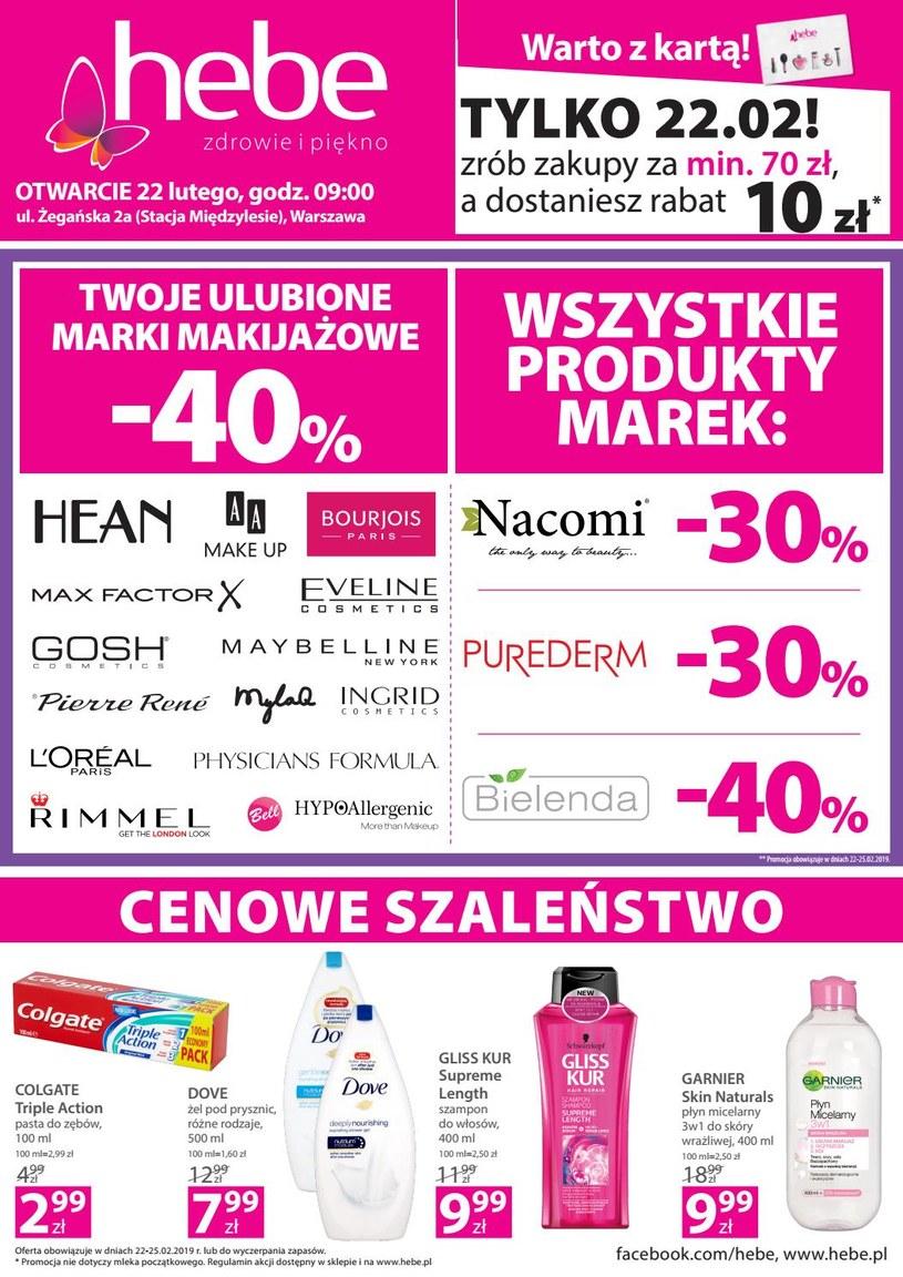 Gazetka promocyjna Hebe - ważna od 22. 02. 2019 do 25. 02. 2019