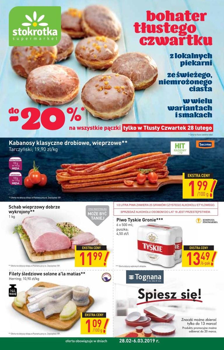 39974198ab77be Gazetka Stokrotka - Bohater tłustego czwartku - supermarket , strona 1,  ważna od 2019-