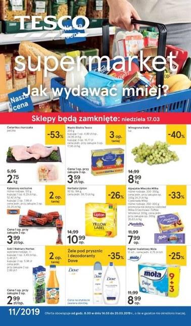 Gazetka promocyjna Tesco Supermarket, ważna od 14.03.2019 do 20.03.2019.
