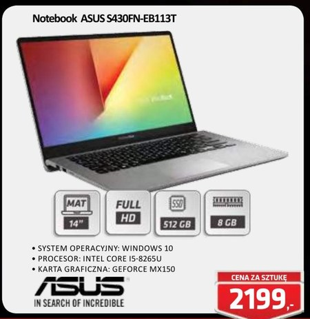 Notebook S430FN-EB113T ASUS