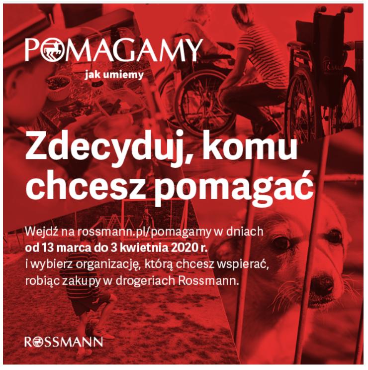 plakat promujący pomoc z Rossmanem