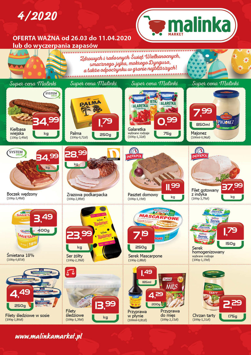 Gazetka promocyjna MALINKA Market - ważna od 26. 03. 2020 do 11. 04. 2020