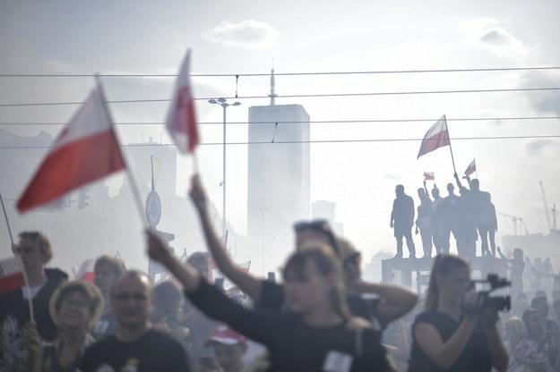 """01.08.2019r. Godzina """"W"""" na Rondzie Dmowskiego w Warszawie / Marcin Obara  /PAP"""
