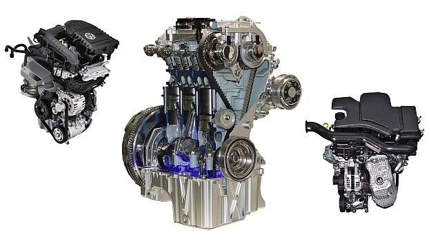 1.0 EcoBoost Forda (pośrodku) to jeden z najbardziej udanych silników 3-cylindrowych. Z lewej - 1.0 MPI/TSI grupy VW, z prawej - 1.0 VVT-i Toyoty - oba również godne polecenia. /Motor