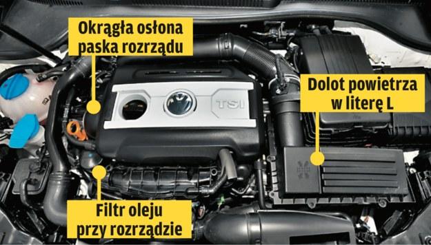 1.8-2.0 TSI (UKŁAD POPRZECZNY)  W 2007 na rynku pojawiły się zmodernizowane silniki (seria EA888) 1.8-2.0 TSI z łańcuchowym rozrządem (charakterystyczna okrągła osłona rozrządu). Poznamy je też po filtrze oleju przy rozrządzie i innym wlocie powietrza. /Motor