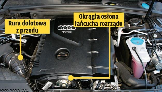 1.8-2.0 TSI (UKŁAD WZDŁUŻNY)  Przy wzdłużnym montażu silnika (modele Audi) stosowana jest inna osłona silnika. Silnik EA888 rozpoznamy po okrągłej osłonie rozrządu (W Audi często jest tam wyjście systemu zmiany faz rozrządu) oraz filtrze oleju tuż obok. /Motor