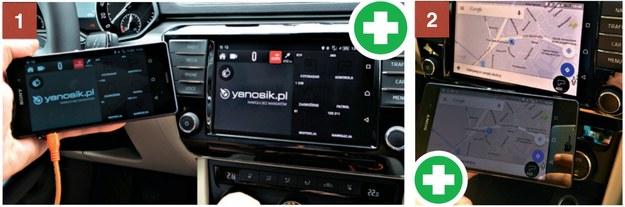 1. Aplikacja Yanosik działa bez problemu. Dźwięk ostrzeżeń był odtwarzany z głośników w aucie. 2. Google Maps na postoju działa tak, jak powinien. /Motor