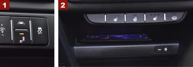 [1] Asystent pasa nie tylko ostrzega przy zjeżdżaniu, ale aktywnie wspomaga powrót na właściwy tor jazdy. [2] Pod włącznikami ogrzewania foteli, przedniej szyby i kierownicy (pakiet za 2000 zł) – seryjna ładowarka bezprzewodowa. /Motor