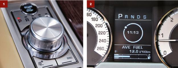 [1] Cechą charakterystyczną jest wysuwane pokrętło zmiany przełożeń automatu. [2] Wybór przełożenia sygnalizuje dioda przy pokrętle oraz wskazanie na wyświetlaczu. /Motor