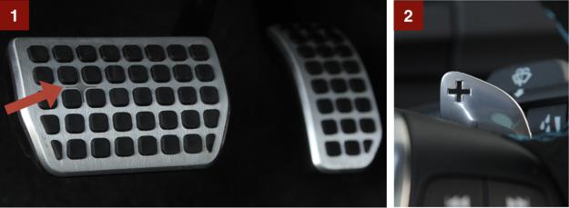[1] Dla spostrzegawczych – na pedałach też jest logo Polestar (4-ramienna gwiazdka). [2] Efektowne łopatki z aluminium mają wycięte symbole i są gumowane od spodu, żeby nie ślizgały się po nich palce kierowcy. /Motor