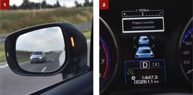 [1] Duża pomarańczowa dioda ostrzega o autach nadjeżdżających z tyłu. [2] Po zatrzymaniu w korku adaptacyjny tempomat informuje kierowcę, gdy samochód stojący z przodu ruszy. /Motor