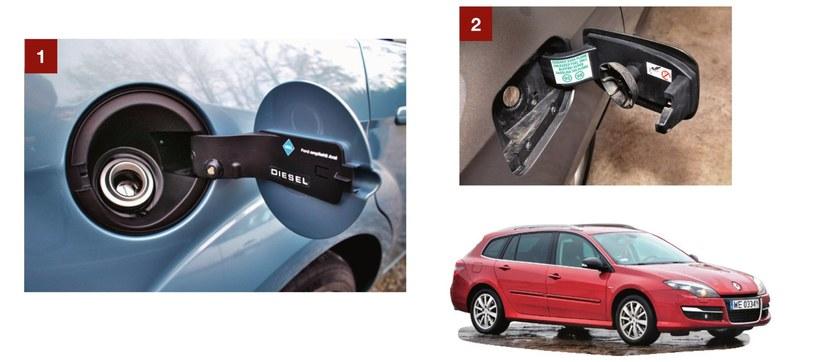 [1] Ford Focus - wlew nie ma korka, a mimo to paliwo się nie rozchlapuje. [2] Renault Laguna - zatyczka wlewu jest zamocowana do samej klapki. /Motor