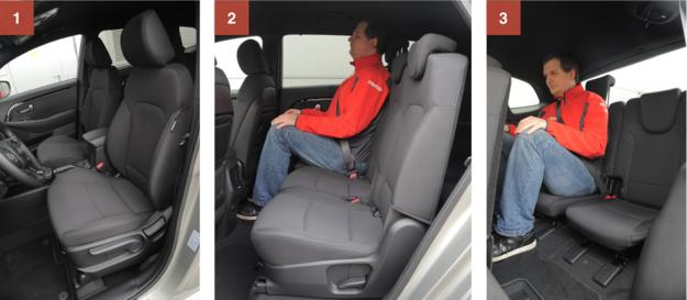 1. Fotel kierowcy, mimo braku regulacji podparcia lędźwiowego, jest bardzo wygodny i pozwala komfortowo pokonywać długie trasy. 2. Fotele drugiego rzędu można przesuwać i składać. 3. Miejsca w trzecim rzędzie sprawdzą się w sytuacjach awaryjnych. /Motor