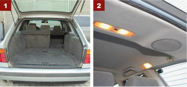 [1] Głęboki bagażnik odmiany Touring ma od 460 do 1450 l, a kanapa jest seryjnie dzielona. [2] Klasa premium sprzed ćwierć wieku: rozbudowane oświetlenie i głośniki w podsufitce. /Motor