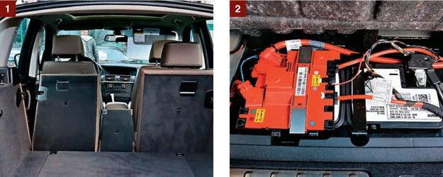 [1] Kanapa dzielona na trzy części: każdą można złożyć osobno. [2] Uniesienie podłogi bagażnika otwiera dostęp do akumulatora. /Motor