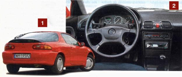 """[1] Kierowcy MX-3 skarżą się na kiepską widoczność do tyłu. Niestety wysoko uniesiony tył robi swoje. [2] Kokpit, pomimo że jest """"smutny"""", może się podobać. Wykonany został solidnie, bez jakichkolwiek niepotrzebnych udziwnień. /Motor"""
