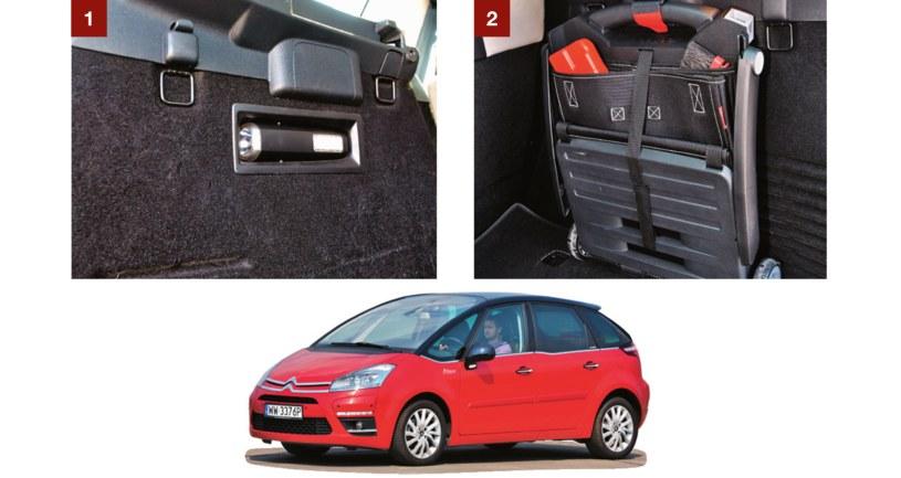 [1] Latarka, służąca także jako oświetlenie bagażnika, jest ukryta w jego ściance. [2] Wózek dwukołowy ma rozkładaną rączkę i jest składany na płasko. /Motor