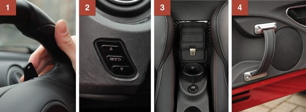 1. Łopatki zmiany biegów są niewielkie, ale operuje się nimi wygodnie. 2. Tymi przyciskami zmienia się ustawienia samochodu. 3. Tylko jedno miejsce na kubek i opcjonalna kieszeń np. na portfel. 4. Drzwi bez kieszeni, za to ze stylowym uchwytem do zamykania. /Motor