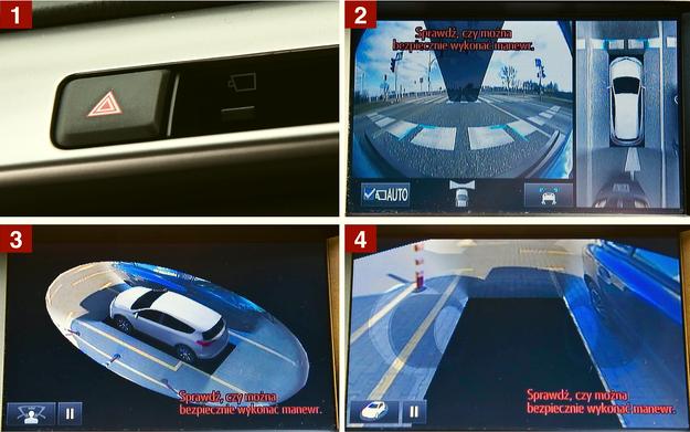 """[1] Mały przycisk obok włącznika świateł awaryjnych uruchamia różne widoki z czterech kamer umieszczonych dookoła pojazdu. [2] Podstawowy widok - szerokokątne ujęcie z przedniej kamery oraz widok z lotu ptaka. [3] Można też wyświetlić symulowany widok z kamery """"obchodzącej"""" auto dookoła. [4] Kolejne ujęcie wygląda jak z kamery obracającej się w """"przezroczystym"""" samochodzie. /Motor"""